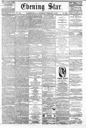 SHif Star. vet. XIX. WASHINGTON, D. C.. SATURDAY, FEBRUARY 15, 1862. N?. 2,804 THE EVENING STAR n PUBLISH ED EVERT...