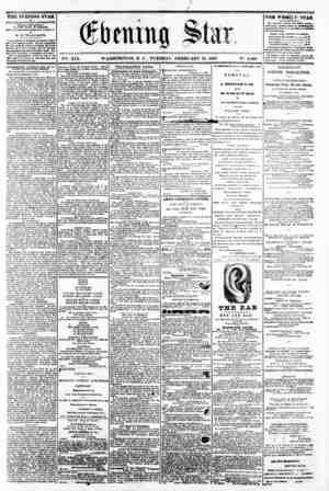 "* f 9 V2i. XIX. WASHINGTON, D C . TUESDAY, FEBRUARY 18, 1862. IN"". 2,80fi THE EVENING STAR ta rtTBUSRED BVSRT AFTBRNOOIf, 1"