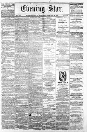 f 0 M * , . ? - - V2t. XIX. WASHINGTON, D C . SATURDAY, FEBRUARY 22, 1862. N?. 2,810. THE EVENING STAR M PUBLISHED BVBRT...