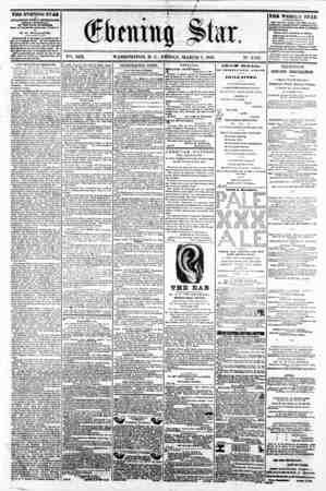V2i. XIX. WASHINGTON, D. C. FRIDAY, MARCH 7, 1862. N?. 2,S21. THE EVENING STAR M f\JB LIS HE D B7BRT AFTBRNOOH, (SUNDAY...