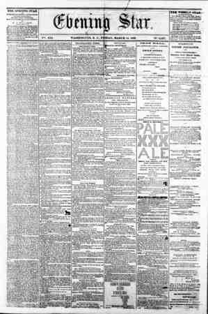 V?i. XIX. WASHINGTON, I). C. FRIDAY, MARCH 14, 1862. ?????P5T?? IN-. 2,827, THE EVENING STAR to PUBLISHED RVBRT AFTBRNOOJ*,