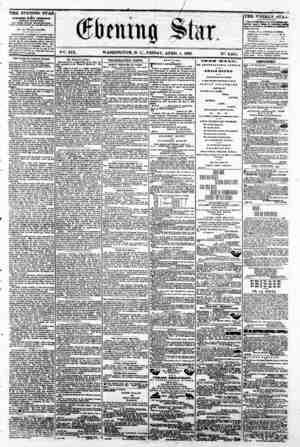 i * 0~ ? ? ^ OftaitiQ Star ~ * Vet. XIX. WASHINGTON, D. C.. FRII>AY, APRIL i, 1862 N?. '2.845. I THE EVENING STAR M PUBLISHED