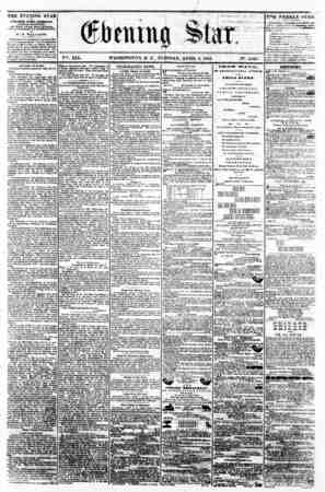"f 4 r - < >i. o n 11 . ,i "" i > Jf*' * * f ? ? - ; - ? , V^. XIX. WASHINGTON, D. C. TUESDAY, APRIL 8, 1862. IN9. 2,848 THE"