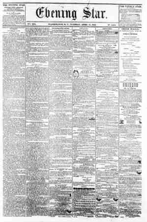 """/ . ._ __ __ 11 V?. XIX. WASHINGTON, D. C.. TUESDAY, APRIL 15. 1862. IN"""". 2,851 * * ? THE EVENING STAR It PUBLI9IIED EVER?"""