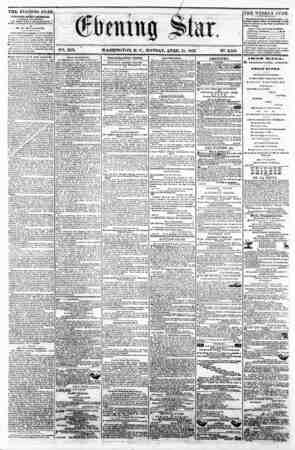 V2t. XIX. ' WASHINGTON, D. C.. MONDAY, APRIL 21. 1802. N*. 2,859 ^^^^ I TI1E EVENING STAlt ia FUBLIBHKD EVERT AFTEENOON,...