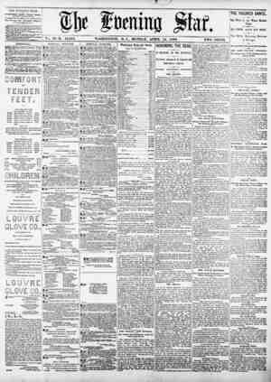 ?!)c fuming jto. Vol. 76?No. 16,010. WASHINGTON, D. C., MONDAY. APRIL 14, 189<>. TWO CENTS. TIIE EVENING STAR 1*1 RUSHED...