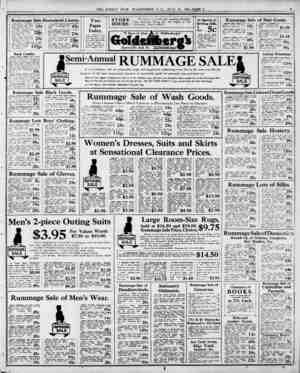  ) Rummage Sale ft Five pieces of 04-inch Unb'eachc 5 German Lteen Dire Dam8?* c: K. Worlli 45c yard. I t Rummage Sale price