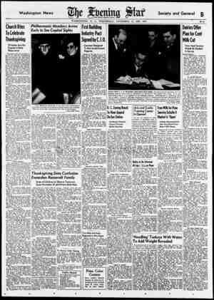 Washington News £ Society and General £ WASHINGTON, D. C., WEDNESDAY, NOVEMBER 22, 1939. *** * B—1 Church Rites To Celebrate