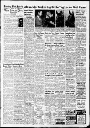 Gening J&faf ^p0f Is Washington, D. C., Saturday, May 1, 1948—A—11 •• W in, Lose, or Draw By FRANCIS STANN % Star Staff...