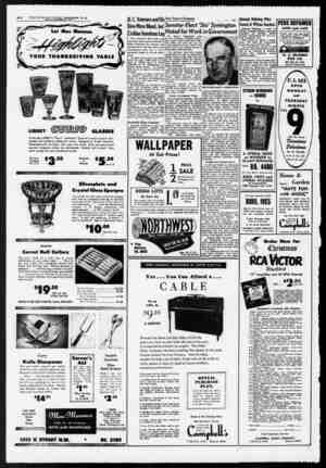 A-32 THE SUNDAY STAR, Washington, D. C. SUNDAY, NOVEMBER *3, 1952 Let Mac Mannes K YOUR THANKSGIVING TABLE If LIBBEY GLASSES