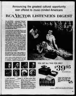 Announcing the greatest cultural opportunity ever offered to music-minded Americans \ rca Victor listener's digest TMKS.Ii ▼