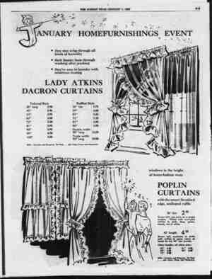 """-A --• y, ->y -1 ■ X' 'January homefurnishings event • they stay crisp through all ' DACRON CURTAINS I 111 Ij.j 90"""" 3.95..."""