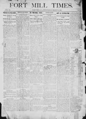 Fort Mill Times Gazetesi 21 Mart 1900 kapağı