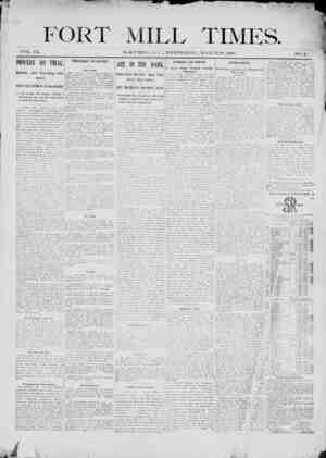 Fort Mill Times Gazetesi 28 Mart 1900 kapağı