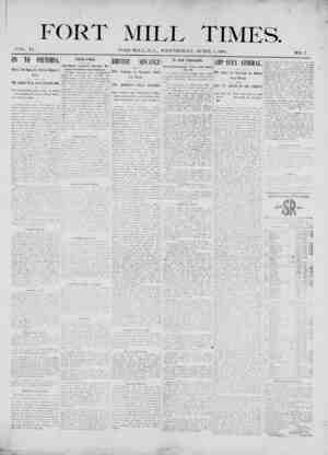 Fort Mill Times Gazetesi 4 Nisan 1900 kapağı