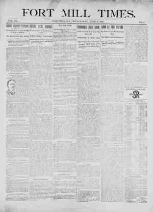 Fort Mill Times Gazetesi 11 Nisan 1900 kapağı