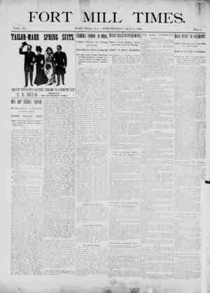 Fort Mill Times Gazetesi 9 Mayıs 1900 kapağı