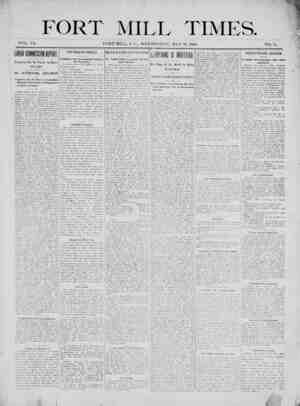 Fort Mill Times Gazetesi 30 Mayıs 1900 kapağı