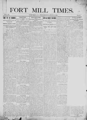 Fort Mill Times Gazetesi 27 Haziran 1900 kapağı