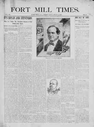 Fort Mill Times Gazetesi 11 Temmuz 1900 kapağı
