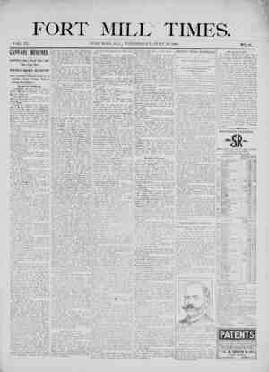 Fort Mill Times Gazetesi 18 Temmuz 1900 kapağı