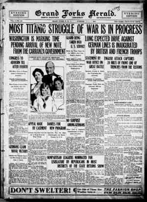 Grand Forks Herald Gazetesi 1 Temmuz 1916 kapağı