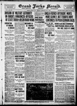 Grand Forks Herald Gazetesi 3 Temmuz 1916 kapağı