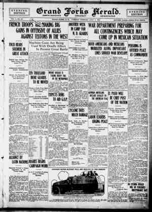 Grand Forks Herald Gazetesi 4 Temmuz 1916 kapağı