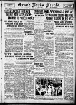 Grand Forks Herald Gazetesi 5 Temmuz 1916 kapağı