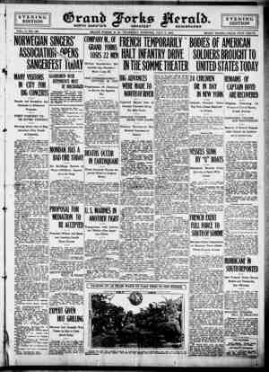 Grand Forks Herald Gazetesi 6 Temmuz 1916 kapağı
