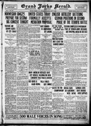 Grand Forks Herald Gazetesi 7 Temmuz 1916 kapağı