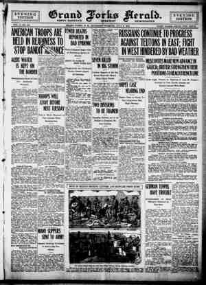 Grand Forks Herald Gazetesi 8 Temmuz 1916 kapağı