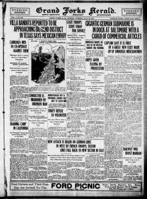 Grand Forks Herald Gazetesi 10 Temmuz 1916 kapağı