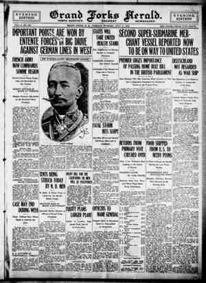Grand Forks Herald Gazetesi 11 Temmuz 1916 kapağı
