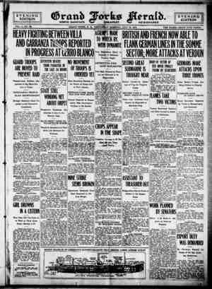 Grand Forks Herald Gazetesi 12 Temmuz 1916 kapağı
