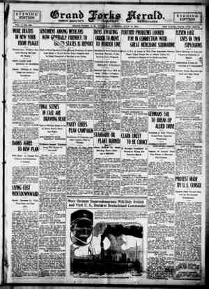 Grand Forks Herald Gazetesi 13 Temmuz 1916 kapağı