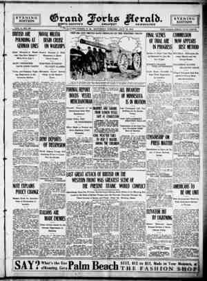 Grand Forks Herald Gazetesi 15 Temmuz 1916 kapağı