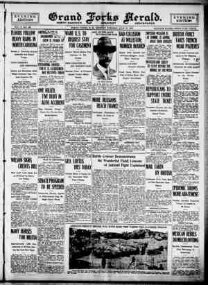 Grand Forks Herald Gazetesi 17 Temmuz 1916 kapağı