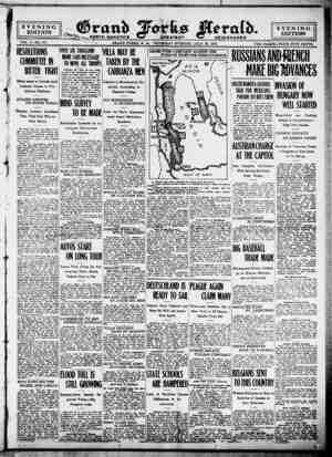 Grand Forks Herald Gazetesi 20 Temmuz 1916 kapağı
