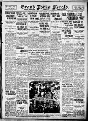 Grand Forks Herald Gazetesi 21 Temmuz 1916 kapağı