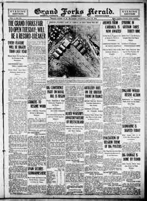 Grand Forks Herald Gazetesi 22 Temmuz 1916 kapağı
