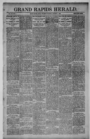 Grand Rapids Herald Gazetesi 7 Ocak 1892 kapağı