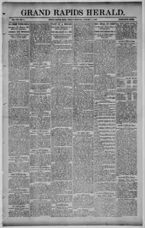 Grand Rapids Herald Gazetesi 8 Ocak 1892 kapağı