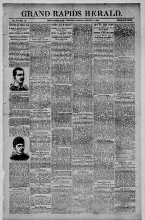 Grand Rapids Herald Gazetesi 13 Ocak 1892 kapağı