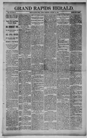 Grand Rapids Herald Gazetesi 22 Ocak 1892 kapağı
