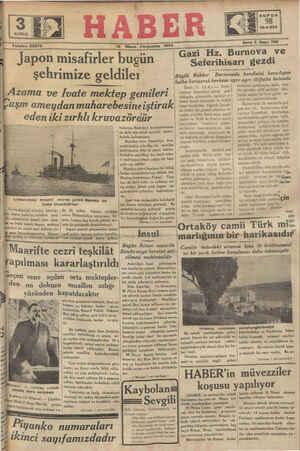 GAS DEE. UUU G Ç Telefon 23872 12 Nisan Ferşembe 1934 > - .. g__.=_=g=-==-s= ]apoıl: ı_nısîafırler İ?ugun S öterihisatı gezdirn şehrimize geldiler ee j Büyük Rehbe; Burnovada kendisini karşılıyan ' ıîzama ve İvate mektep gemileri - - a pi İzmir, I1 (A.A.) — Reisi- * önünden ayrılmıyan halk, hep bir ağızdan milli şarkılar oku- yarak taşkın bir hale gelen se- vinçlerini göstermişlerdir. cümhür Hazretleri sabah saat dokuzda otomobille hareket e- | Aerole tumir eivarında ve Seferi | halka karışarak herkese ayrı ayrı iltifatta bulundu MA