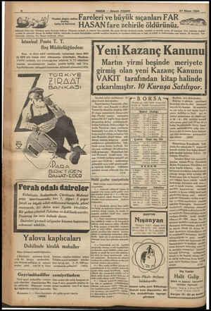 F . OU MT Fase A A K BU, Yacir Gi Fındık, depo, anbar Farelerı Ve b HABER — Akşam Poıt 27 Nisan 1934 ük sıçanları F AR...
