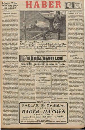 """Ttalyanm 35 bin tonluk harp gemi- leri blöfmüş ! Tetibaslar Amerikanın yaptırdığı harp gemileri """"Nevyork Times,, gazetesi"""