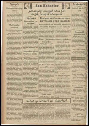 ı——__j:——— Harpte Bolivyalılarmağlüp oluyor Assomption, 19 (A.A.) — Pa- ragvay harbiye nezareti, tebliğ e- diyor: Gran Chaco
