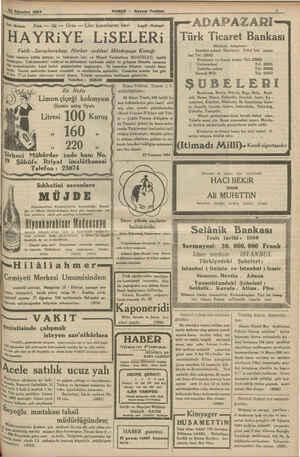 & Ağustos 1924 —— — HABER — Akşam Postası — DL ' ADAPAZARI- Türk Ticaret Bankası Merkezi Adapazarı ' Istanbul şubesi;:...